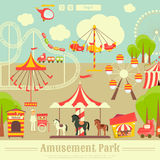 Amusement Park. Summer Holiday Card with Fairground Elements - Rides, Carousel. Vector Illustration stock illustration
