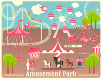 Amusement Park. Summer Holiday Card with Fairground Elements. Vector Illustration stock illustration