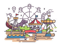 Amusement park with swing and ferris wheel. Amusement park with swing and merry-go-round and ferris wheel. Vector illustration Stock Photo