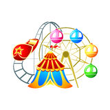 Amusement park symbol. Circus, ferris wheel and rollercoaster at amusement park Royalty Free Stock Photography