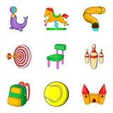 Amusement park for teenager icons set, cartoon style. Amusement park for teenager icons set. Cartoon set of 9 amusement park for teenager vector icons for web Stock Photos
