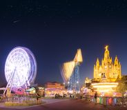 Amusement Park and Temple at Tibidabo Stock Images
