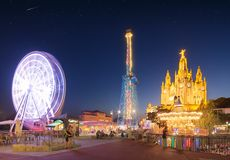 Amusement Park and Temple at Tibidabo Royalty Free Stock Photography