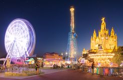 Amusement Park and Temple at Tibidabo Royalty Free Stock Photos