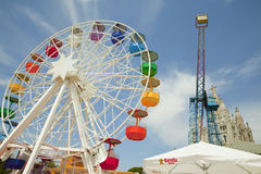 Amusement Park and Temple at Tibidabo Stock Image