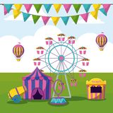 Amusement park with tents circus stock illustration