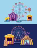 Amusement park with tents circus and icons vector illustration