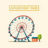 Amusement park theme. Cartoon vector illustration Stock Photos