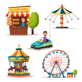 Amusement park theme. Cartoon vector illustration. Vintage style. Set of attractions. Icon collection. Funfair. Good emotions Royalty Free Stock Photos