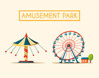 Amusement park theme. Cartoon vector illustration. Vintage style. Set of attractions. Icon collection. Funfair. Good emotions vector illustration
