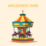 Amusement park theme. Cartoon vector illustration. Vintage style. Set of attractions. Icon collection. Funfair. Good emotions royalty free illustration