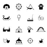 Amusement park and theme park icon vector set. Amusement park or funfair attraction vector illustration icon set royalty free illustration