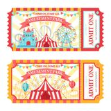 Amusement park ticket. Admit one circus admission tickets, family park attractions festival and amusing fairground. Amusing fair or circus carnival show ticket royalty free illustration