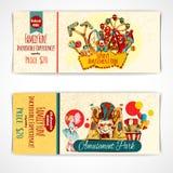Amusement Park Tickets. Amusement fun festival park tickets hand drawn set isolated vector illustration Royalty Free Stock Photos
