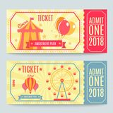Amusement Park Tickets Set. Amusement park tickets collection of two printed coupons with flat fairground attraction images and editable text vector illustration stock illustration