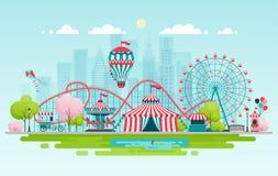 Amusement park, urban landscape. Stock Photos