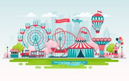Amusement park, urban landscape with carousels, roller coaster and air balloon. Circus and Carnival theme. Vector illustration stock illustration
