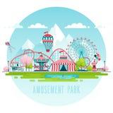 Amusement park, urban landscape. vector illustration