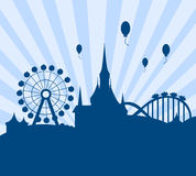 Amusement park vector. Vector illustration as silhouette of amusement and theme park with roller coaster and ferris wheel royalty free illustration
