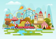 Amusement park vector concept on the mountains background. stock illustration