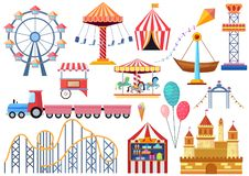 Amusement park vector entertainment icons elements isolated. Colorful cartoon flat ferris wheel, carousel, circus and. Castle isolated stock illustration