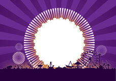Amusement park. Vector of amusement park with fireworks background Royalty Free Stock Image