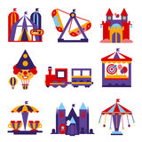 Amusement Park Vector Flat Design Illustrations Royalty Free Stock Photo
