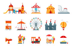 Amusement park vector flat elements, fun icons, on white background with ferris wheel, castle, attractions. Circus, air balloon, swings, carousel. Architecture