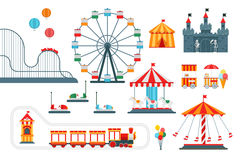 Amusement park vector flat elements isolated on white background. For infographic map design. Architecture entertainment elements for family rest in the park Stock Image