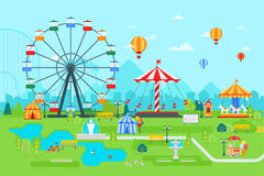 Amusement park vector flat illustration at daytime with ferris wheel, circus, carousel, attractions, landscape and city Stock Photos