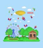 Amusement park. Vector flat illustration Royalty Free Stock Photos