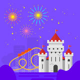 Amusement-park. Vector flat style illustration of amusement park for kids at night. Fairy tale castle and roller coaster Royalty Free Stock Image