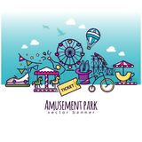 Amusement park vector icons, attraction banner template. For your design Stock Photos
