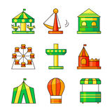 Amusement park vector icons Royalty Free Stock Photo