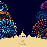 Amusement park. Vector illustration of amusement park with colorful fireworks background Stock Photography