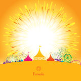 Amusement park. Vector illustration of amusement park with colorful fireworks background Royalty Free Stock Photos