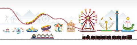 Amusement park. Vector Illustration of amusement park / theme park Stock Image