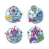 Amusement park vector illustrations, outline icons. For your design Stock Photography