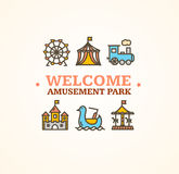 Amusement Park . Vector. Amusement Park  with Inscription Can Be Used for Cards, Posters. Vector illustration Stock Image