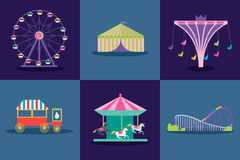 Amusement park vector set. Ferris wheel, roller coaster, popcorn, carousel, carousel with horses Stock Image