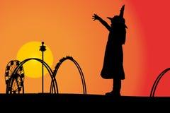 Amusement park. Vector silhouette amusement park at sunset with people Stock Photo