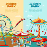 Amusement Park Vertical Banners Stock Image