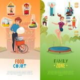 Amusement Park Vertical Banners. People in amusement park two vertical banners with food court and entertainment  zone flat backgrounds vector Illustration Stock Images