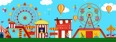 Amusement park view with carousels, roller coaster and hot air balloons for Fun Fair Carnival concept. Header or banner design stock illustration