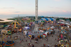 Amusement park a view of an in the village of kirillovka in ukraine from the ferris wheel Royalty Free Stock Photos
