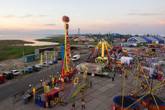 Amusement park a view of an in the village of kirillovka in ukraine from the ferris wheel Royalty Free Stock Image