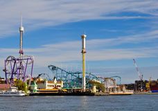 Amusement park at the waterfront Royalty Free Stock Photos