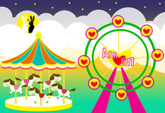 Amusement park wedding backdrop with carousel and ferris wheel and rabbits lover Stock Image