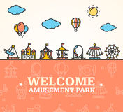 Amusement Park Welcome Card. Vector. Amusement Park Welcome Card Invitation witch Thin Line Icons Attractions and Carousels for Holiday Leisure. Vector Royalty Free Stock Photography
