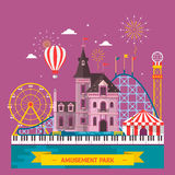 Amusement Park With Attraction And Rollercoaster, Tent With Circus, Carousel Or Round Attraction, Merry Go Round, Ferris
